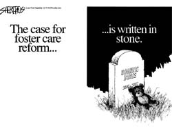 The case for Foster Care Reform ...is written in stone [picture of a head-stone]